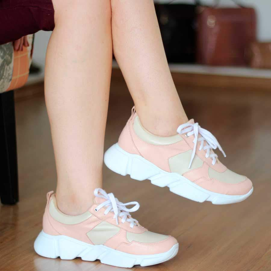 Tênis  Dad Sneakers Feminino Em Couro Rosa 4902