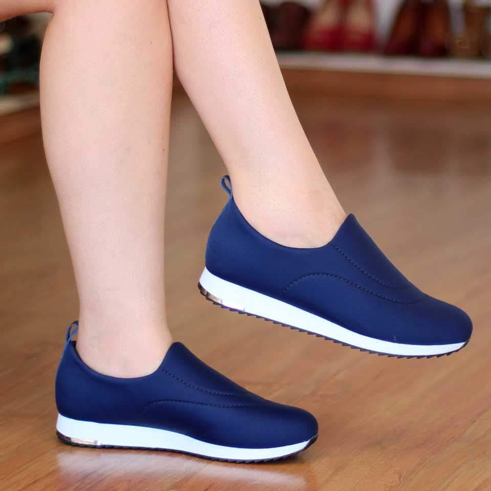 Tênis Feminino Usaflex Solado conforto Tecido Lycra Neoprene Diabetes Azul V9103
