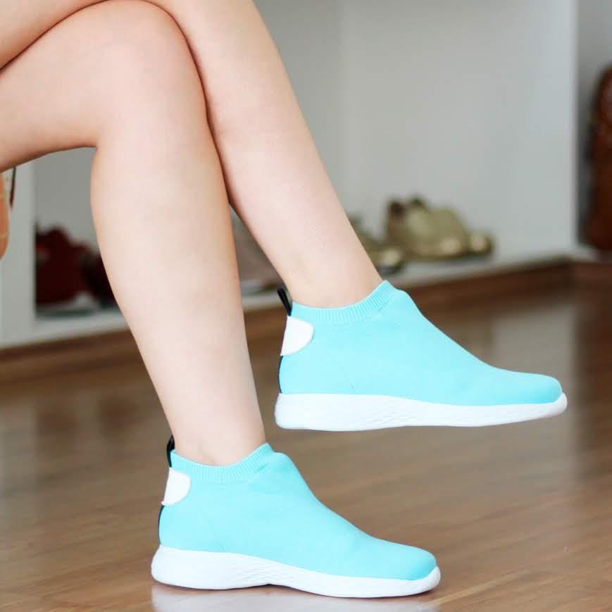 Tênis Feminino Zambeze Tipo Meia Solado Conforto Azul  1152