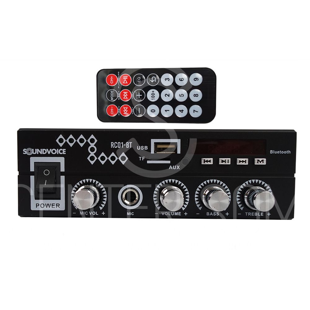 Amplificador Receiver Som Ambiente 60w Usb/Bluetooth Soundvoice RC01