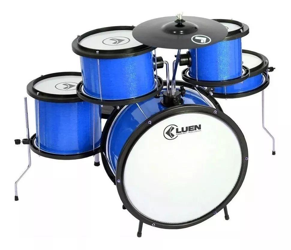Bateria Acústica Infantil Luen Pop Kids Azul