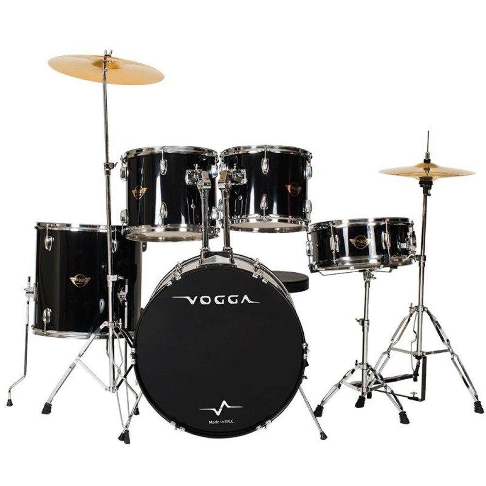 Bateria Acustica Vogga Vpd924 Bk Preta Bumbo 22 Talent