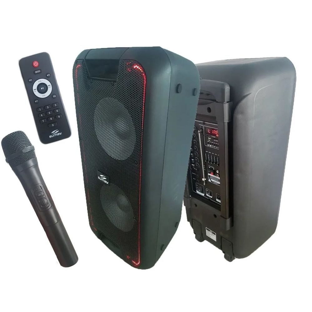 Caixa Amplificada Portátil TITAN 600W Bluetooth / Bateria interna + Microfone sem Fio