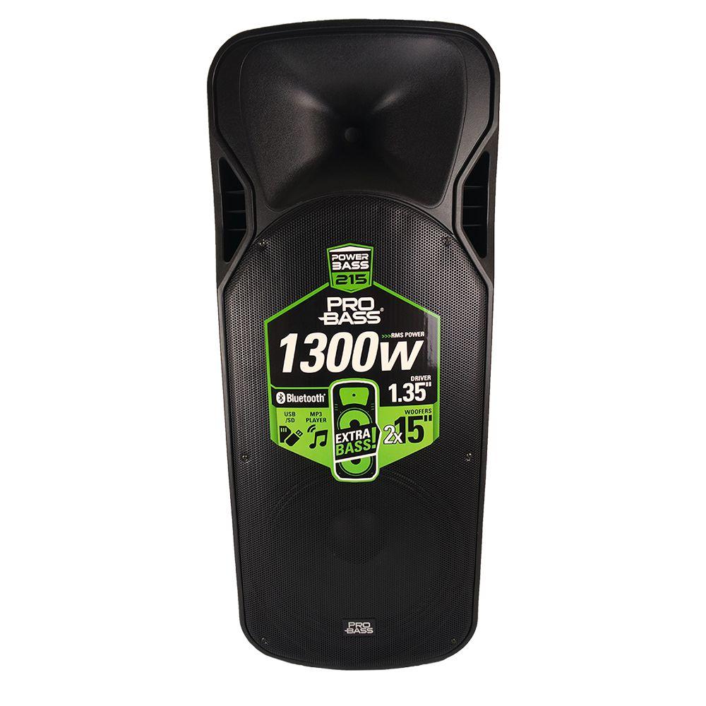 Caixa Amplificada ProBass 2x15 Powerbass 215 1300w RMS C/ Bluetooth USB MP3