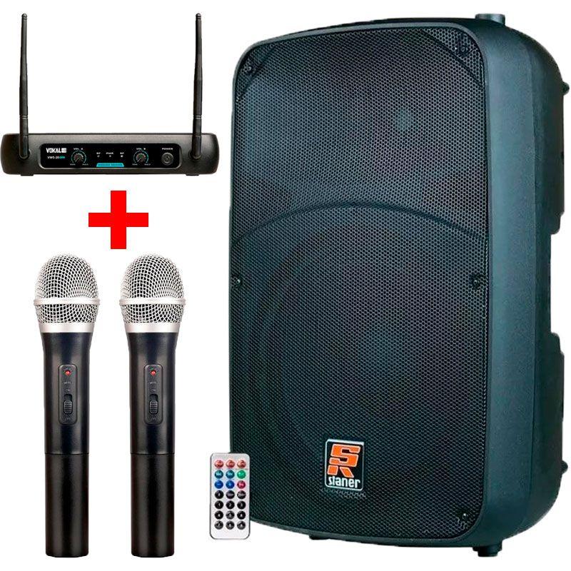 Caixa de som Ativa Sr315a USB/Bluetooth 300w Rms + Microfone Sem Fio Duplo Vokal Vws20