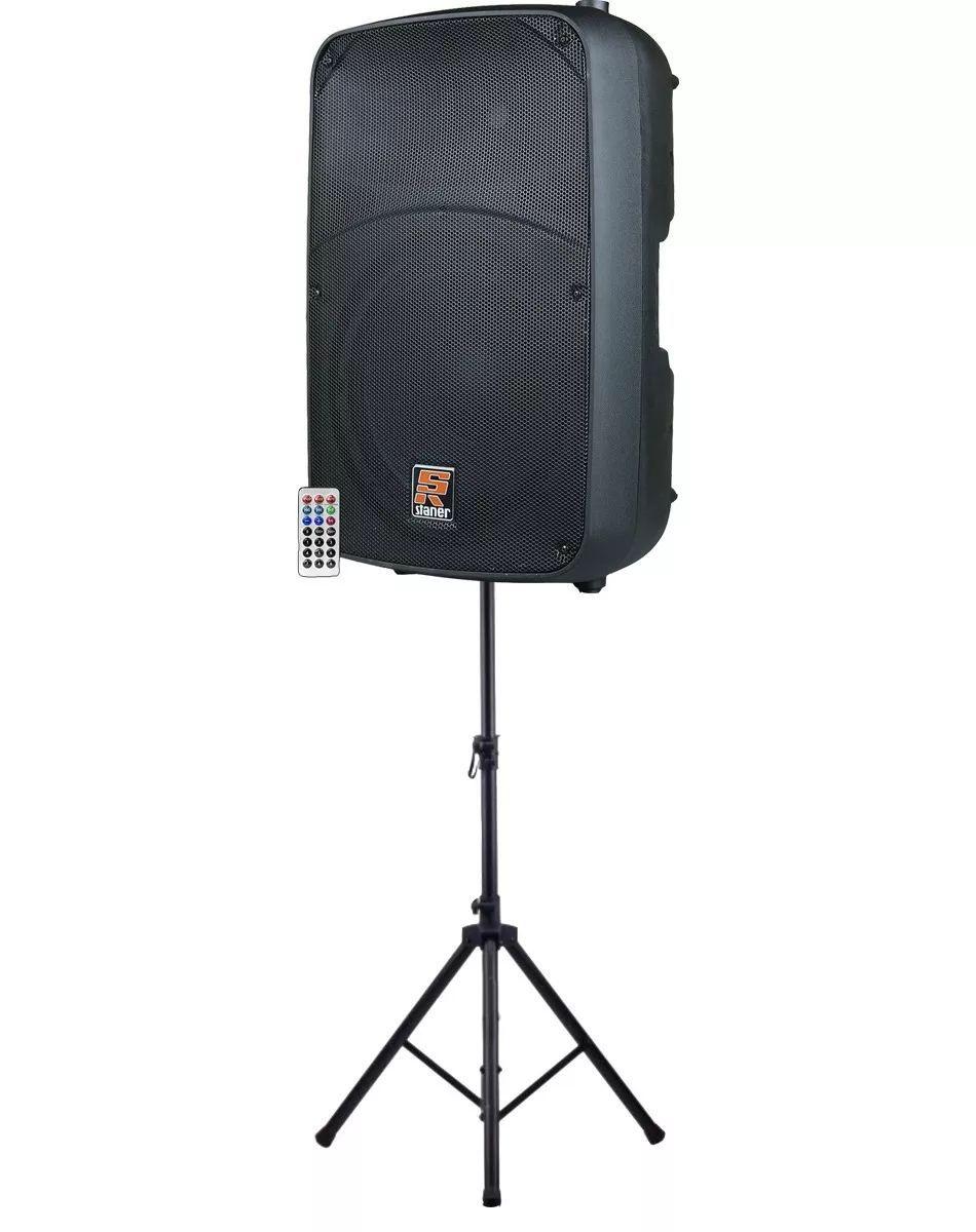 Caixa de Som Ativa Staner Sr315a 15pol. USB/SD/Bluetooth/FM + Tripé