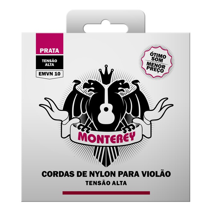Cordas para violão Nylon Solez Monterey Prata EMVN10 Nylon  - Tensão alta