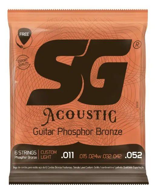 Cordas SG Aço para violão - Tensão leve .011 - .052 Phosphor Bronze