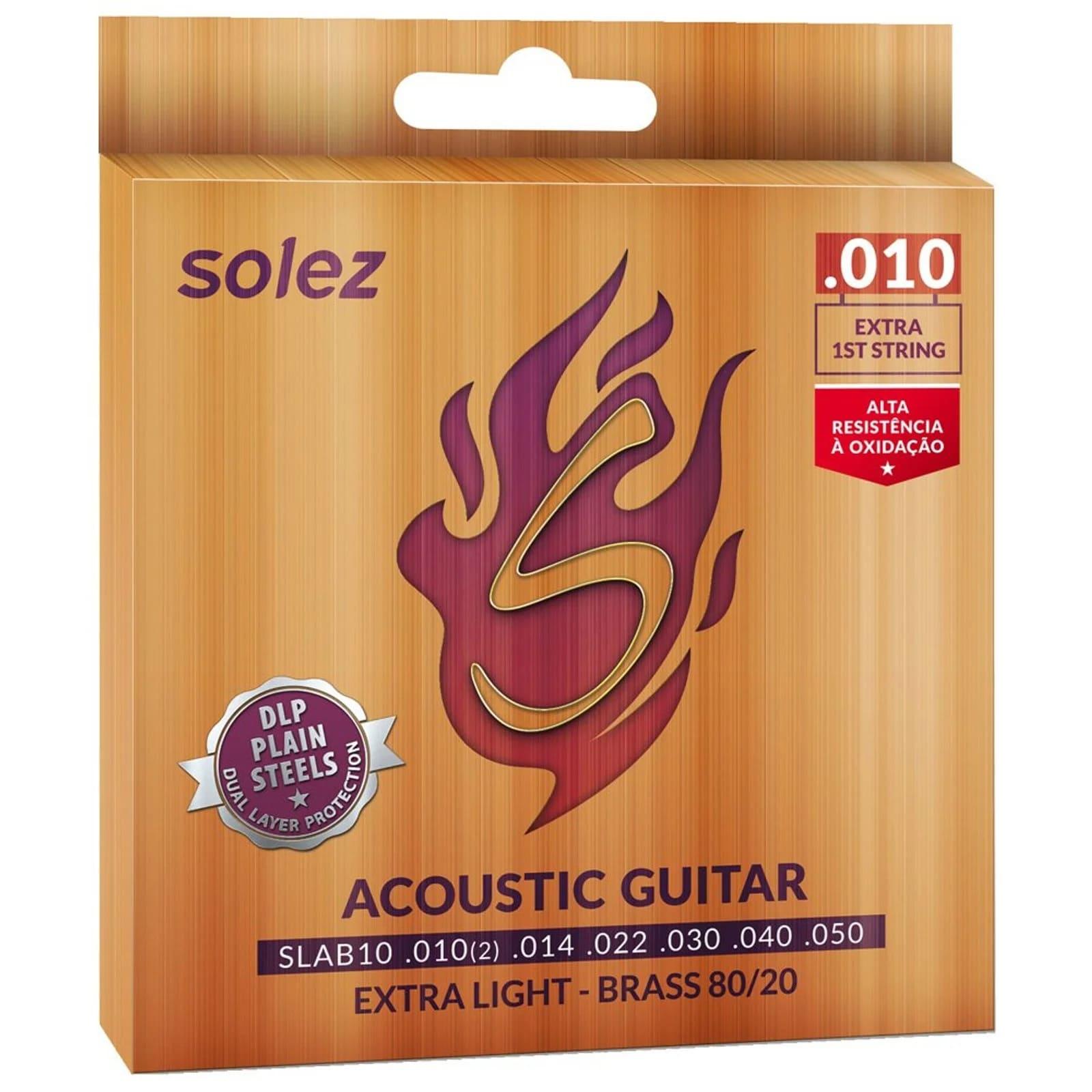 Cordas para violão Aço Solez SLAB10 - Tensão leve .010 Bronze 80/20