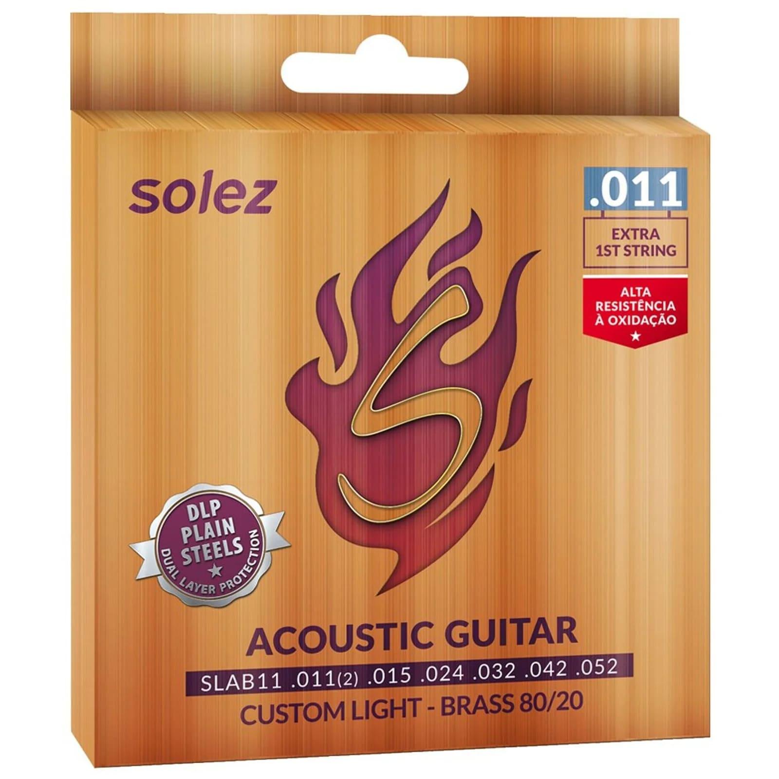 Cordas SLAB11 Solez Aço para violão - Tensão leve .011 Bronze 80/20