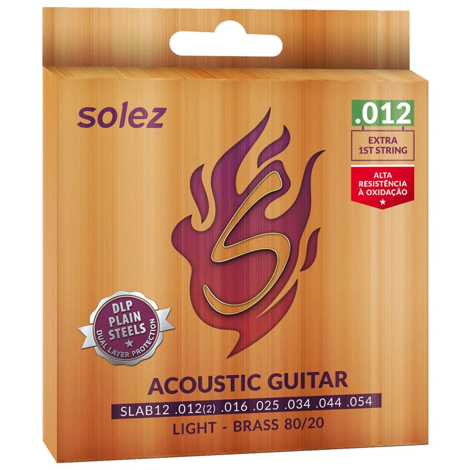 Cordas SLAB12 Solez Aço para violão - Tensão leve .012 Bronze 80/20