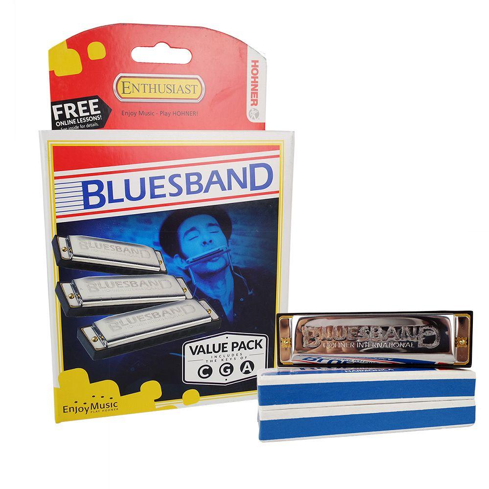 Gaita de Boca Harmônica Hohner BluesBand (C,G,A) 3 Uni