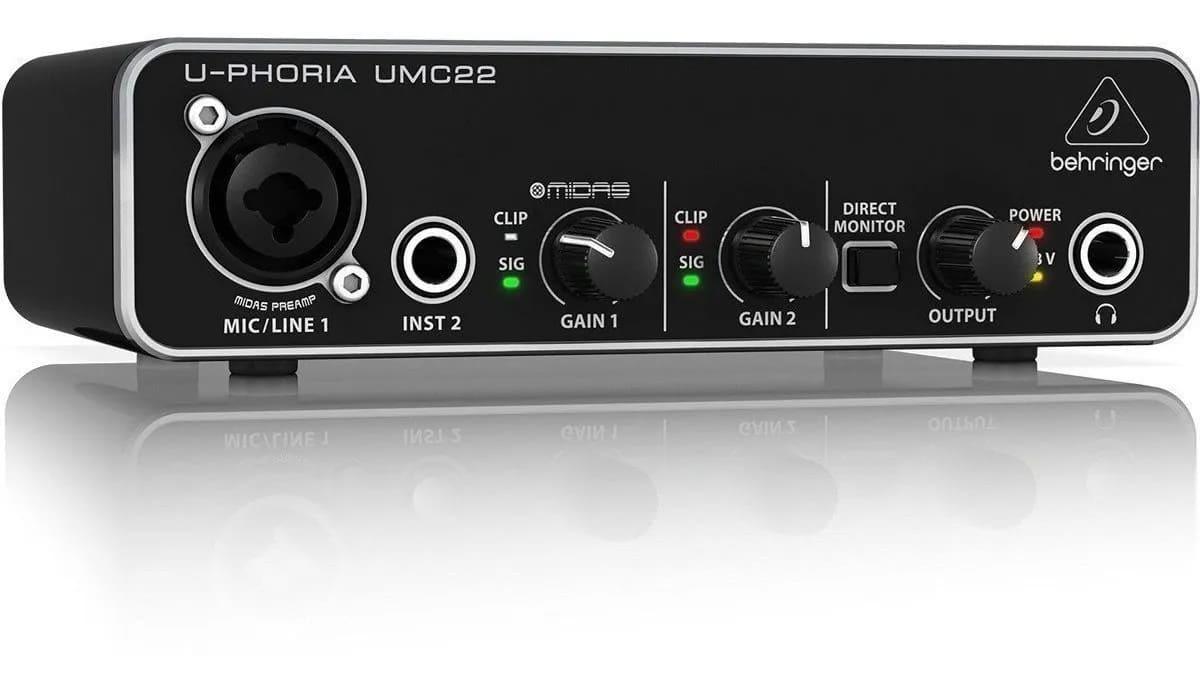 Interface De Áudio Behringer U-phoria Umc22 Midas Usb C/ Nf