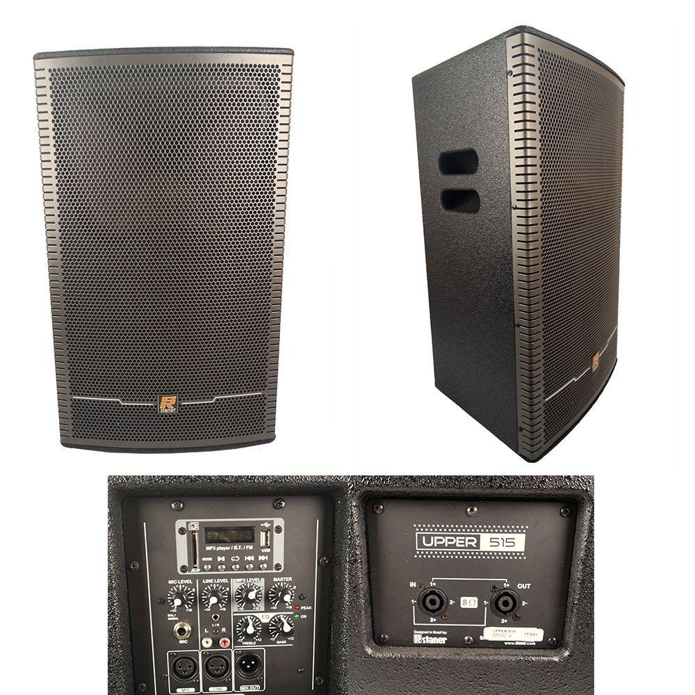 Kit 2 Caixas De Som Ativa + Passiva Staner Upper 515 C/Bluetooth/usb