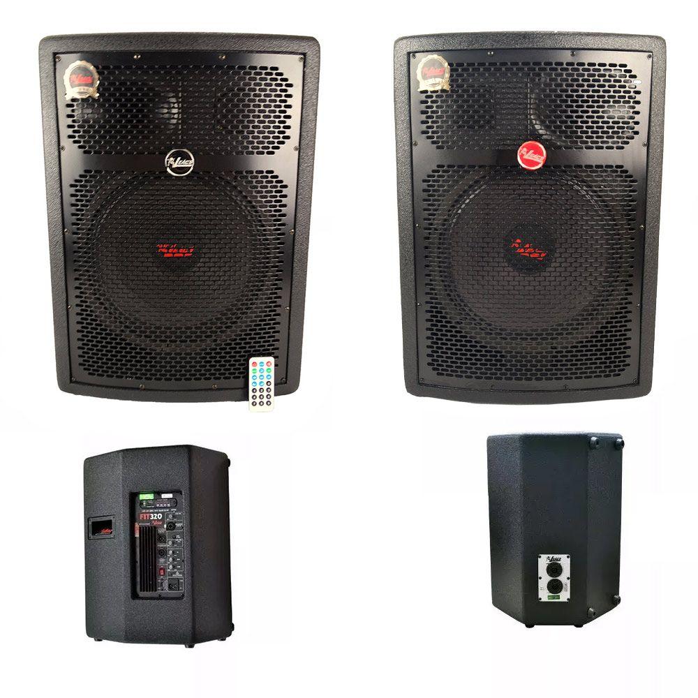 Kit 2 Caixas de Som Ativa + Passivas 12 Pol. Leacs FIT 320 C/ Bluetooth e USB
