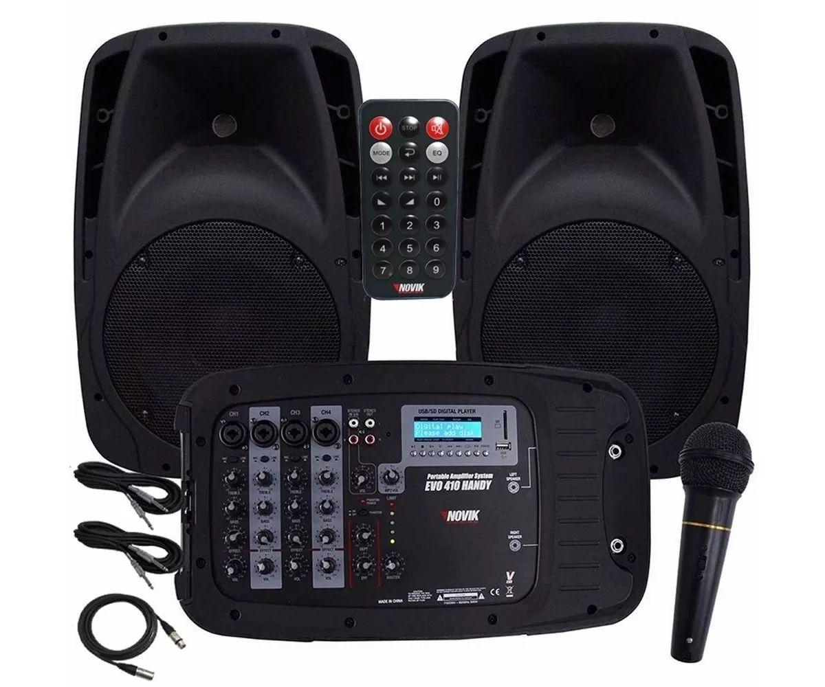 Kit de Caixas de Som Novik EVO 410 Bluetooth/USB/SD, 2 Caixas 300W RMS + Mesa 4 canais + Microfone + Cabos
