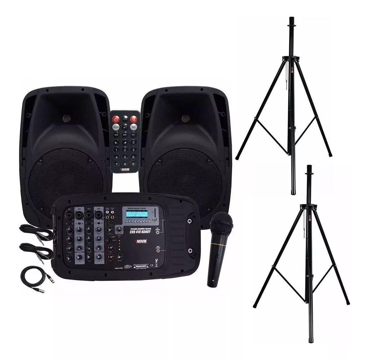 Kit de Caixas de Som Novik EVO 410 Bluetooth/USB/SD, 2 Caixas 300W RMS + Mesa 4 canais + Microfone + Cabos + tripés