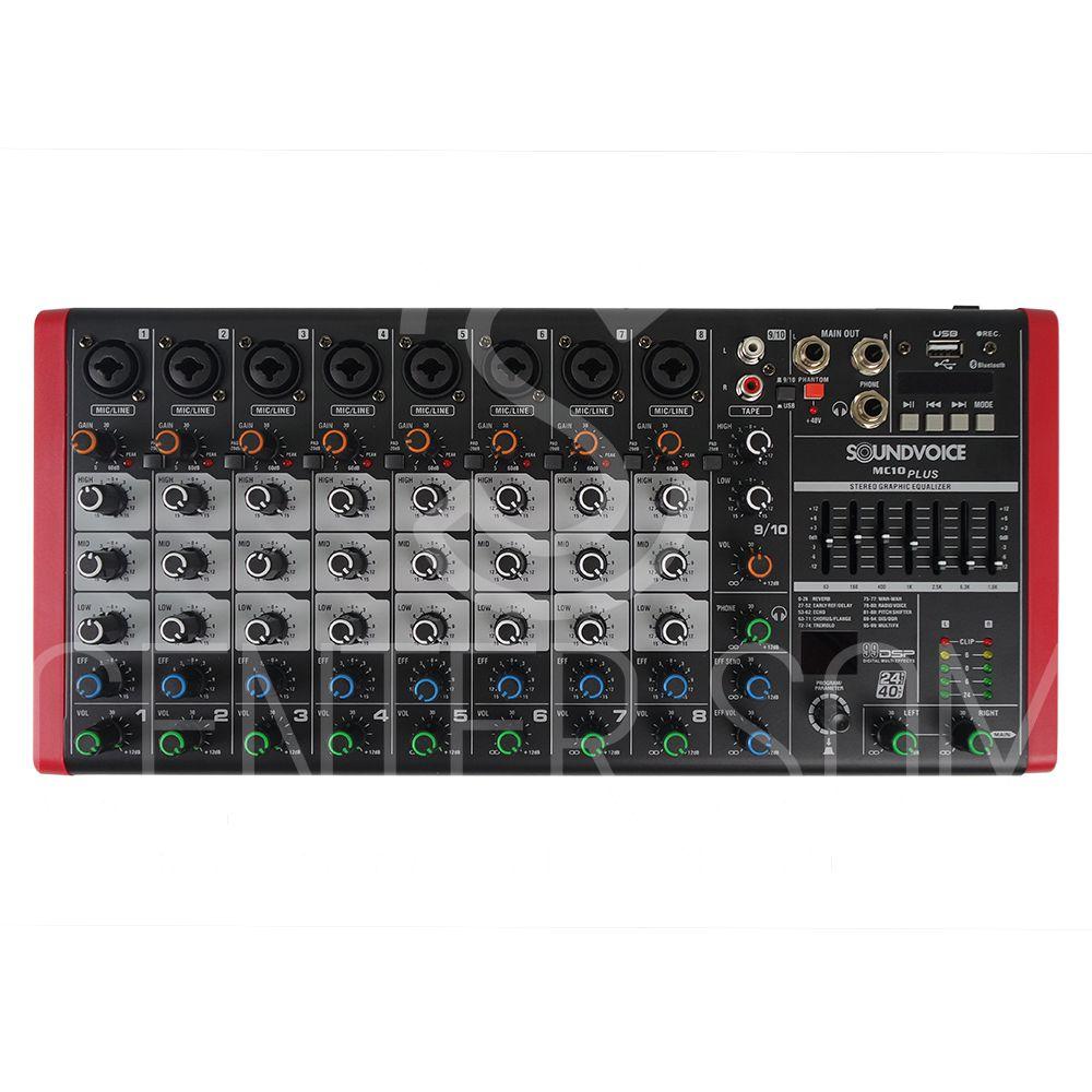 Mesa De Som 10 Canais Bluetooth Efeito Gravação Usb SoundVoice Mc10plus