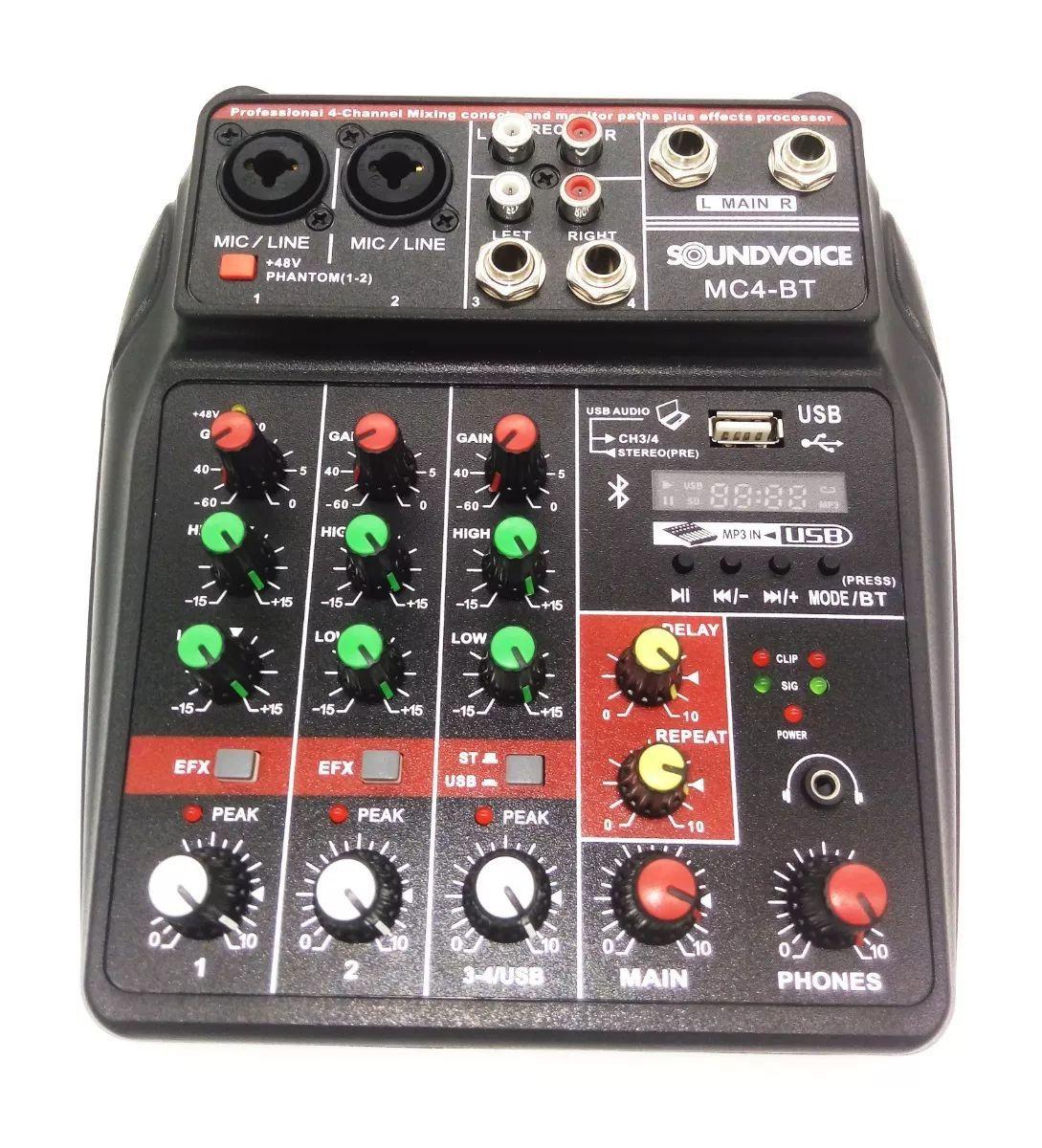 Mesa de Som 4 Canais Interface Soundvoice MC4-BT