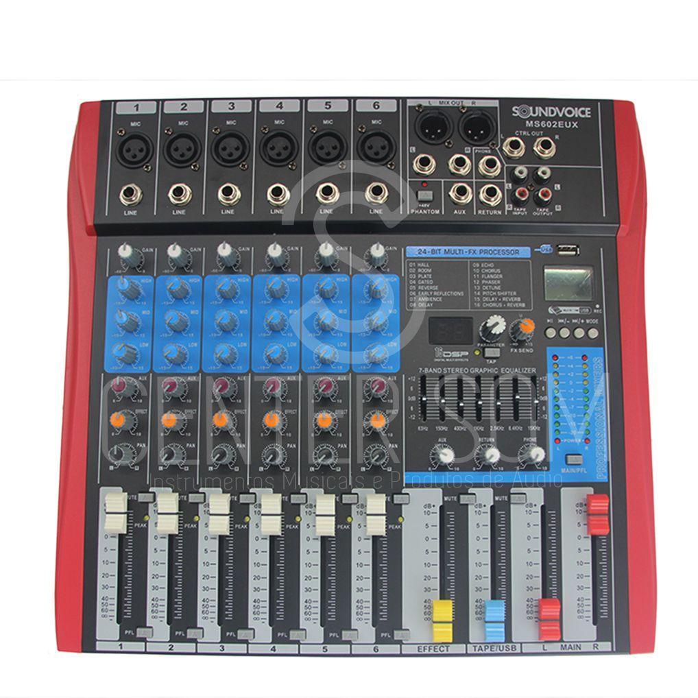 Mesa De Som 6 Canais Efeito/Equalizador Grava USB Soundvoice Ms602eux