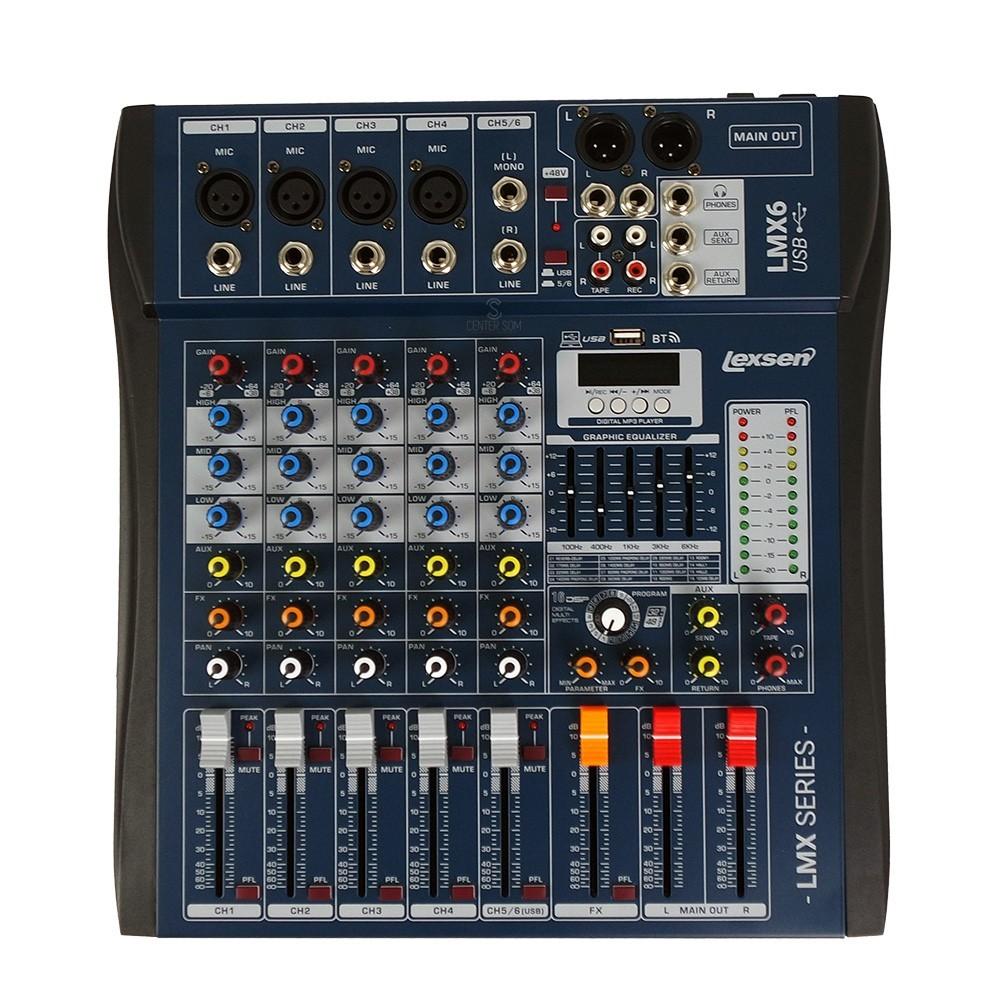 Mesa de Som 6 canais interface LMX6 USB Lexsen +48v BT