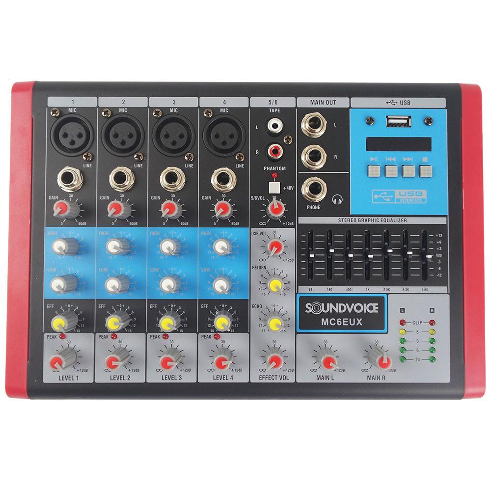 Mesa de Som 6 Canais Soundvoice MC6EUX Gravação Direta