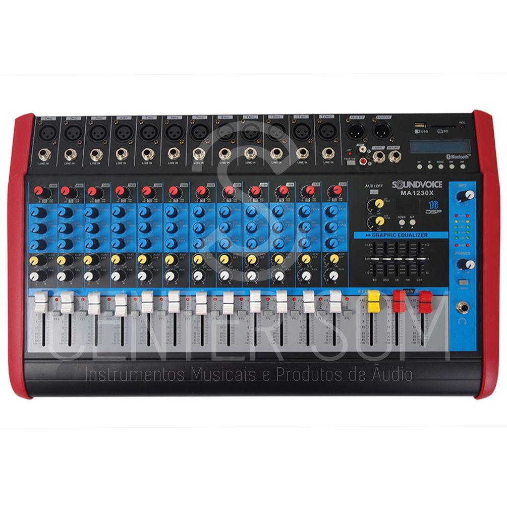 Mesa De Som Amplificada 12 Canais 500w Rec Usb Ef Bt - Soundvoice Ma1230x