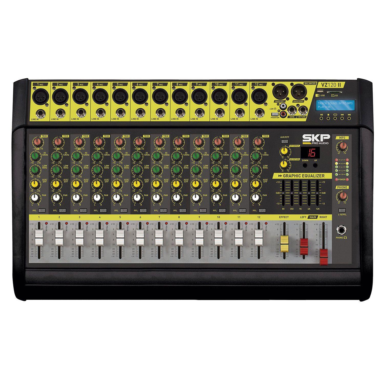Mesa de Som Amplificada 12 Canais 500w Usb/bt/sd Skp Vz-120ll