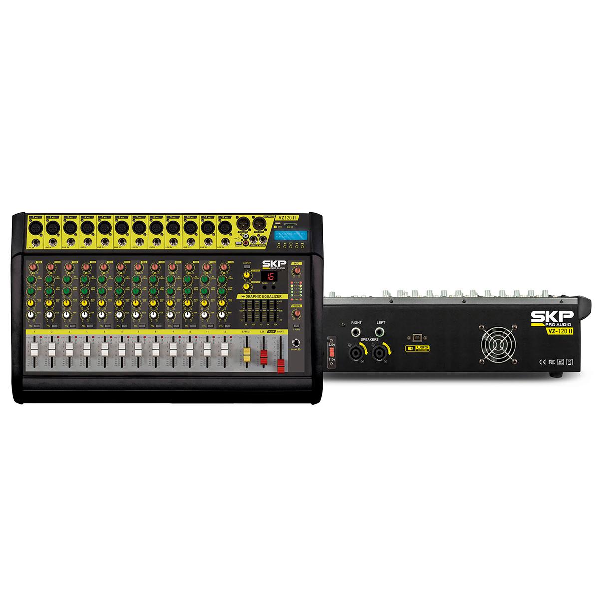 Mesa de Som 12 Canais Interface Amplificada SKP VZ-120II 500W