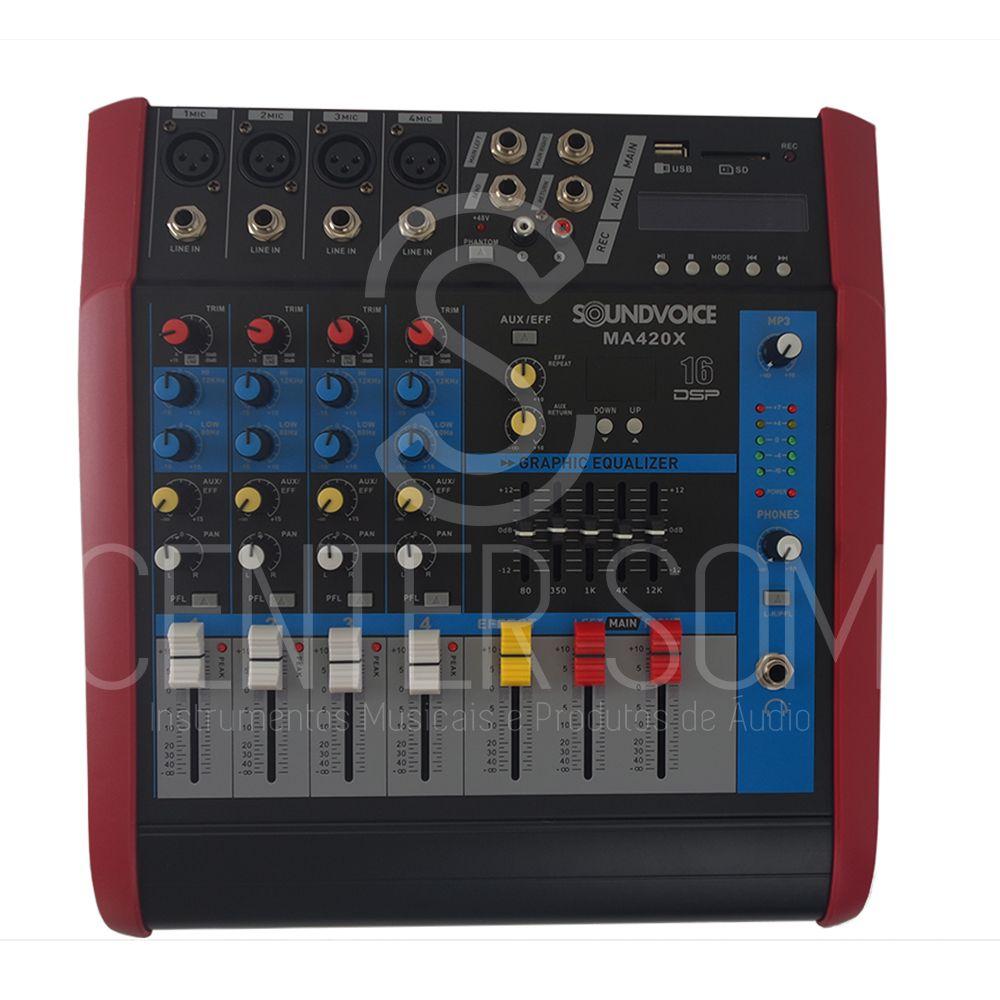 Mesa de Som 4 Canais Amplificada Soundvoice MA420X 400w
