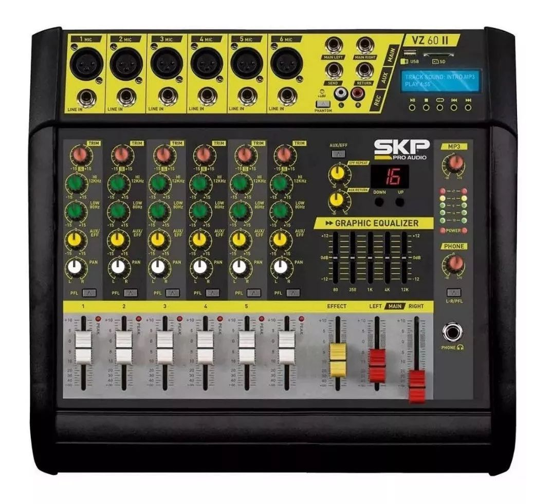 Mesa De Som Amplificada 6 Canais 400w Vz-60 Ii Usb Skp Pro