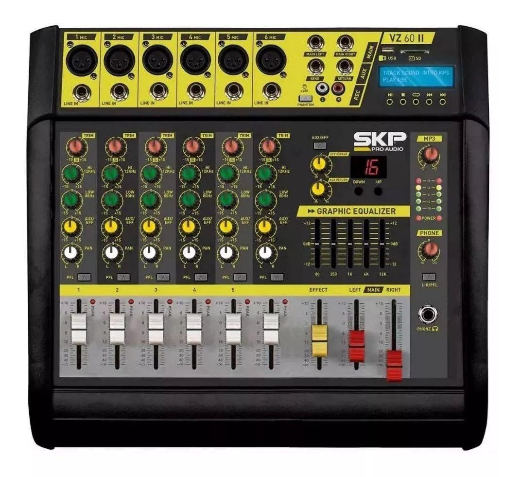 Mesa de Som 6 Canais Amplificada SKP VZ-60II 400W
