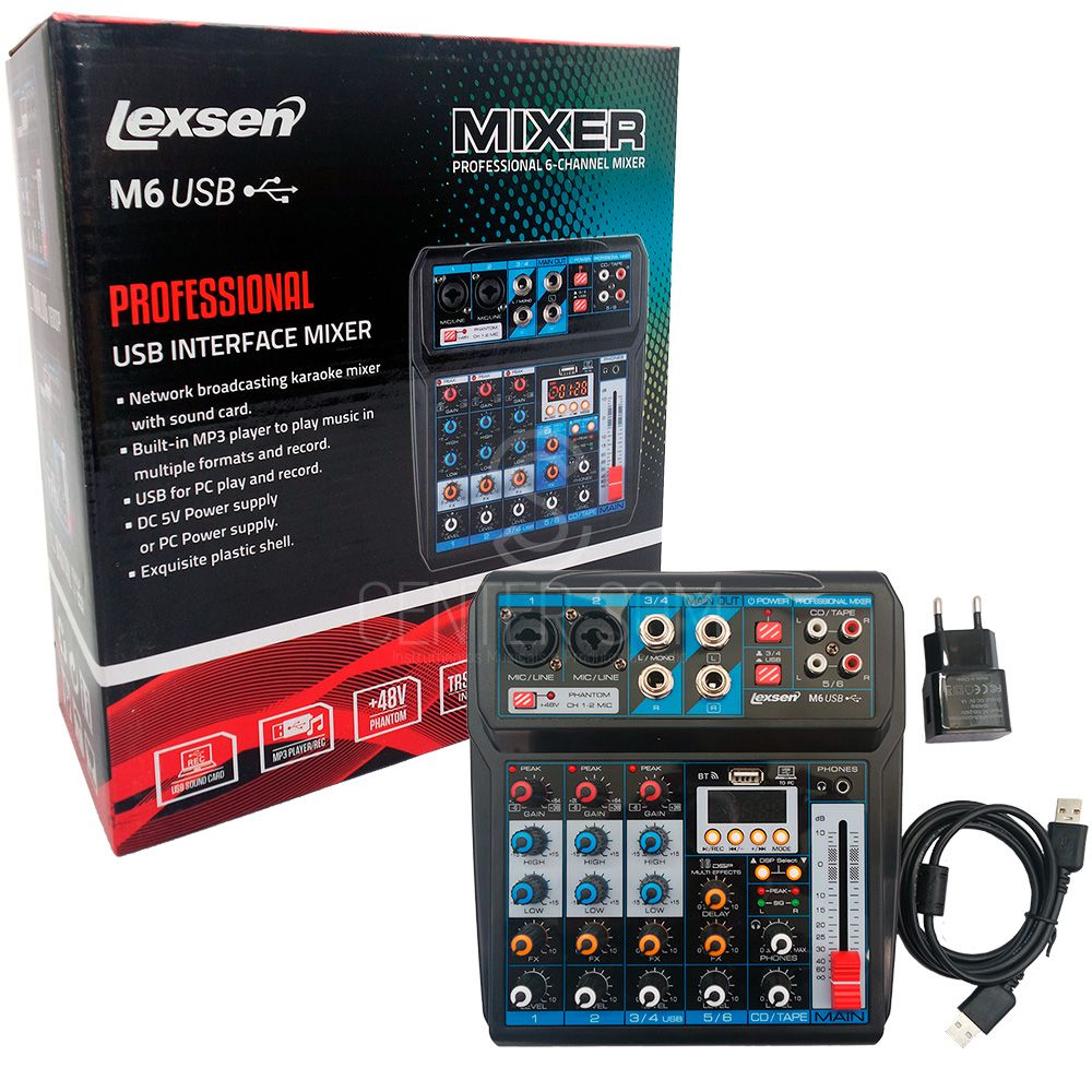 Mesa de Som Interface 6 Canais USB/BT C/ Phanton Power Lexsen M6
