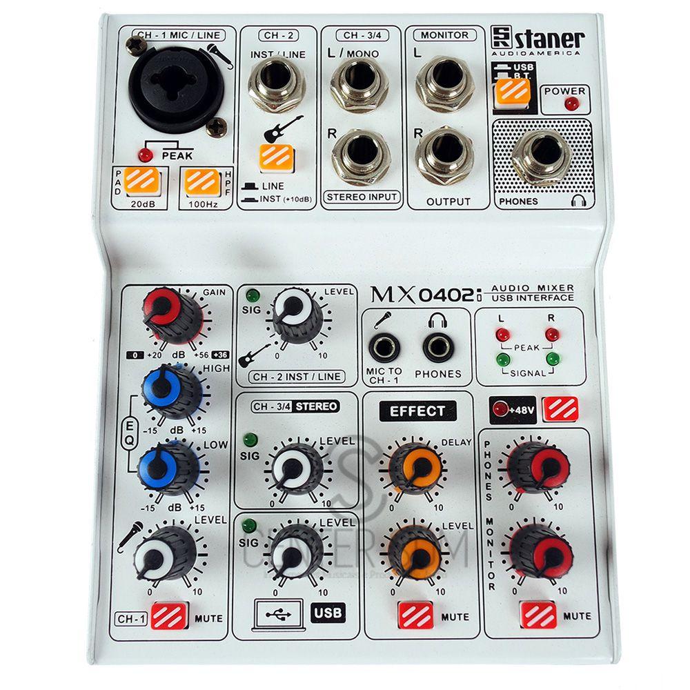 Mesa de Som 4 canais interface Staner MX0402I BT/USB +48V