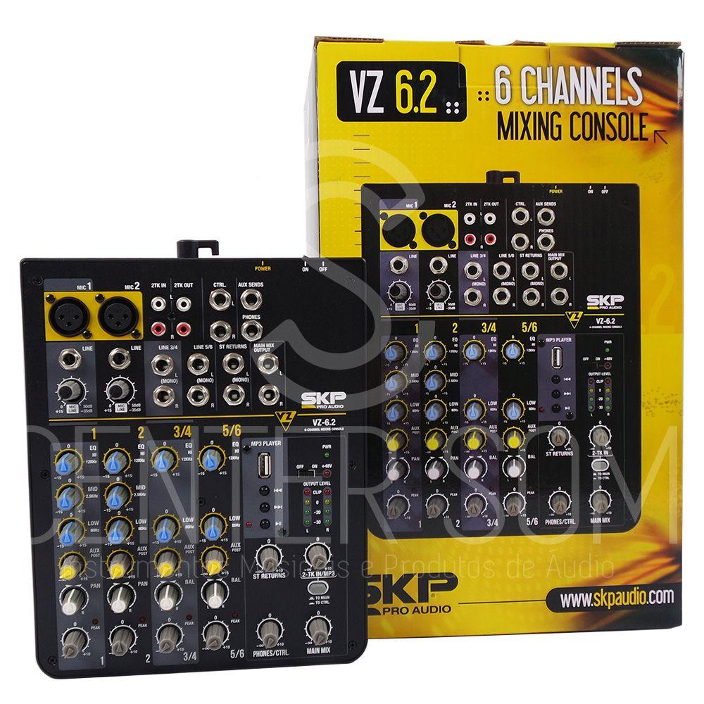 Mesa de Som Mixer VZ6.2 SKP 6 Canais USB e Phantom Power