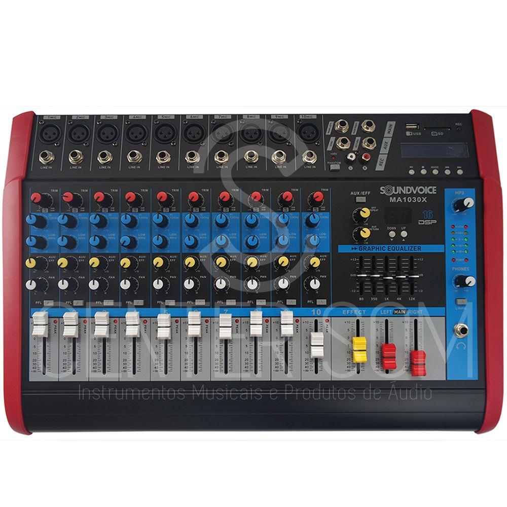 Mesa de Som 10 Canais Amplificada Soundvoice MA1030x 500w