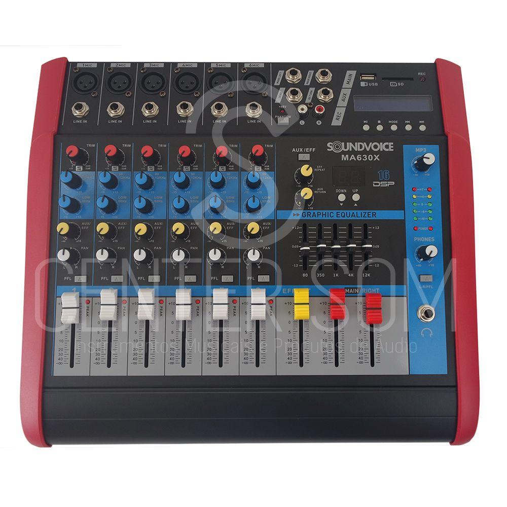 Mesa Som Amplificada 6 Canais Soundvoice Ma630x