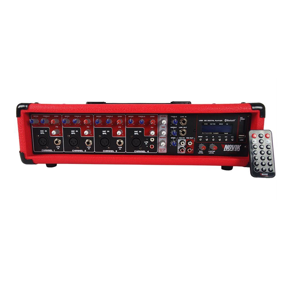 Mesa Som Amplificada Cabeçote Nvk 4300bt Bluetooth Usb Novik