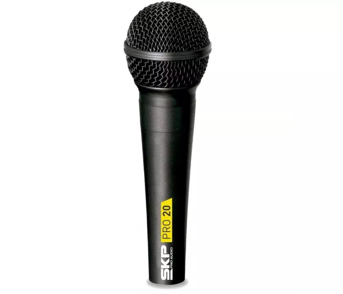 Microfone Com Fio Cardióide Dinâmico Skp Audio Modelo Pro 20 Profissional Xlr