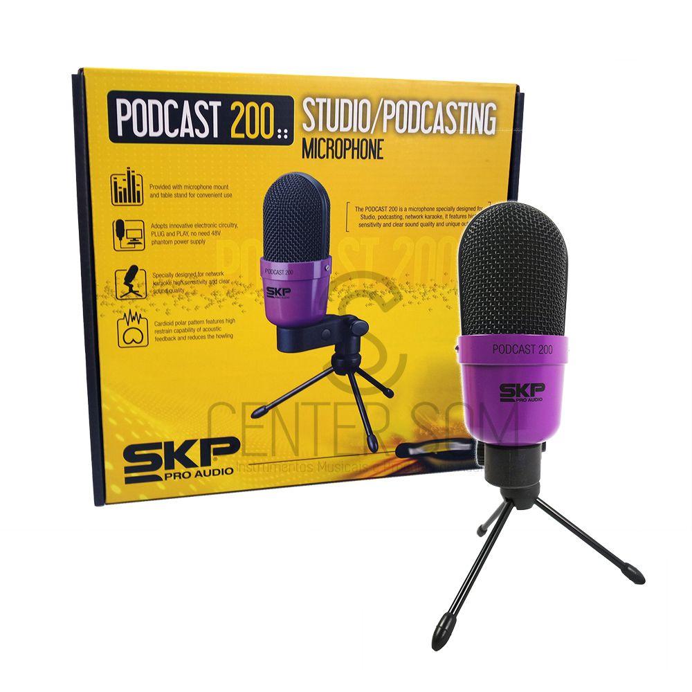 Microfone Condensador Para Estudio Skp Podcast 200