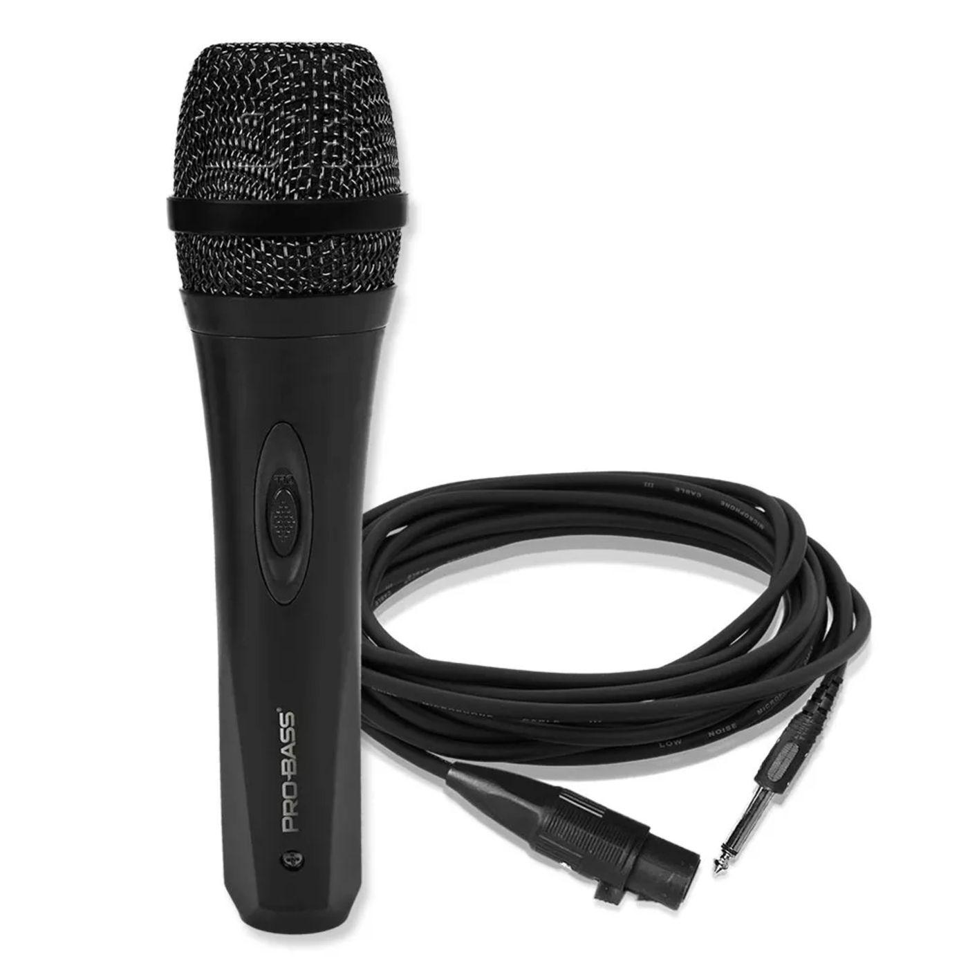 Microfone De Mão Com Fio Probass Pro Mic 500 Dinâmico