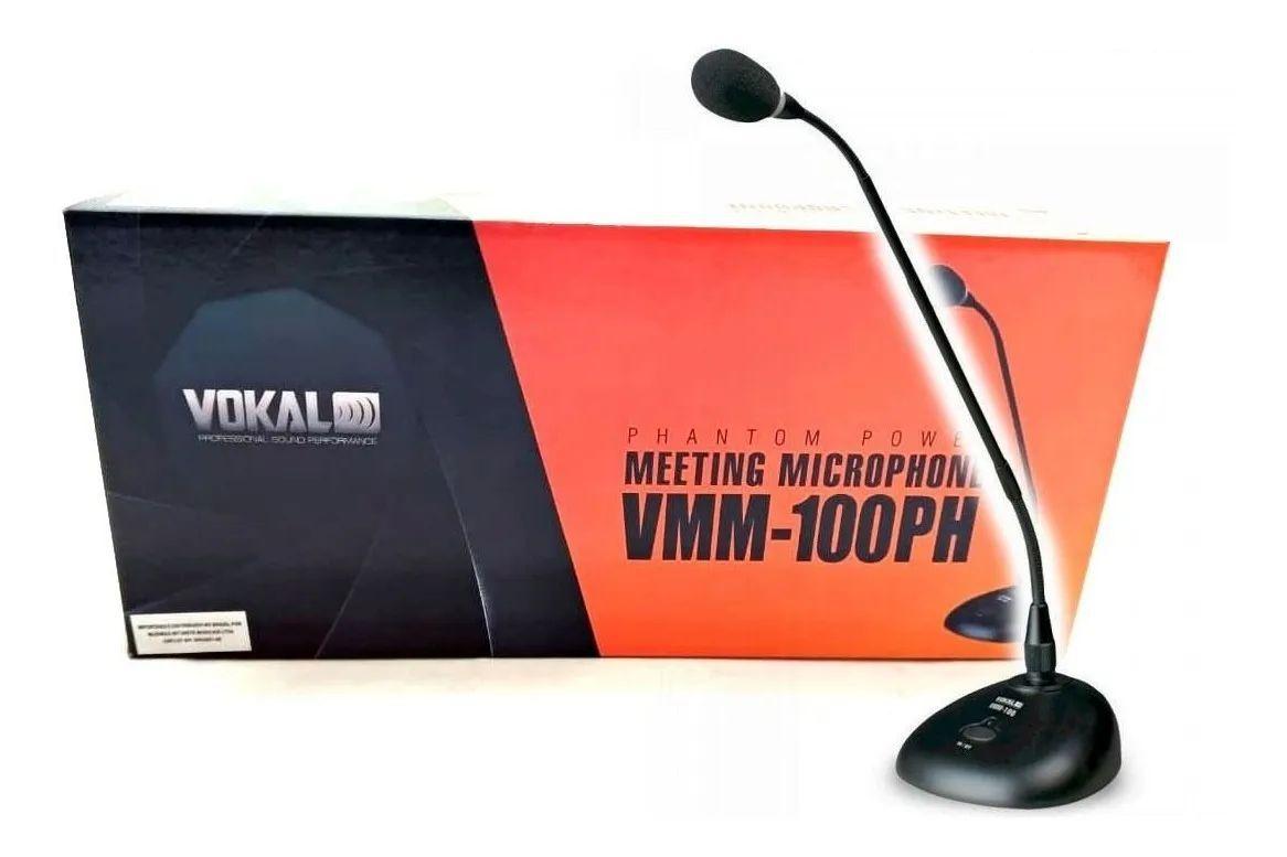 Microfone De Mesa Gooseneck Phanton Power C/ 7.5m De Cabo, Base E Haste - Vokal Vmm100ph