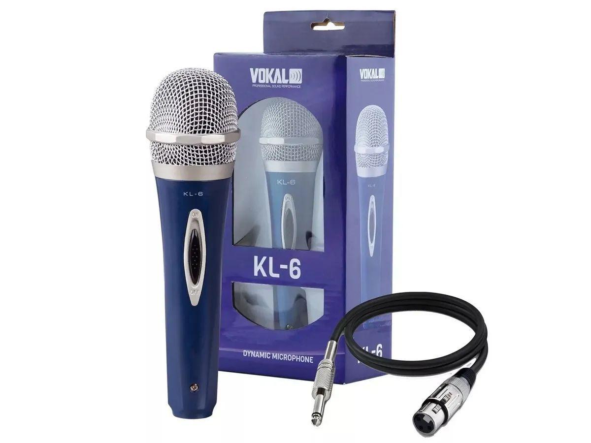 Microfone Dinamico Cardioide Vokal Kl6 Com Cabo 4 Metros