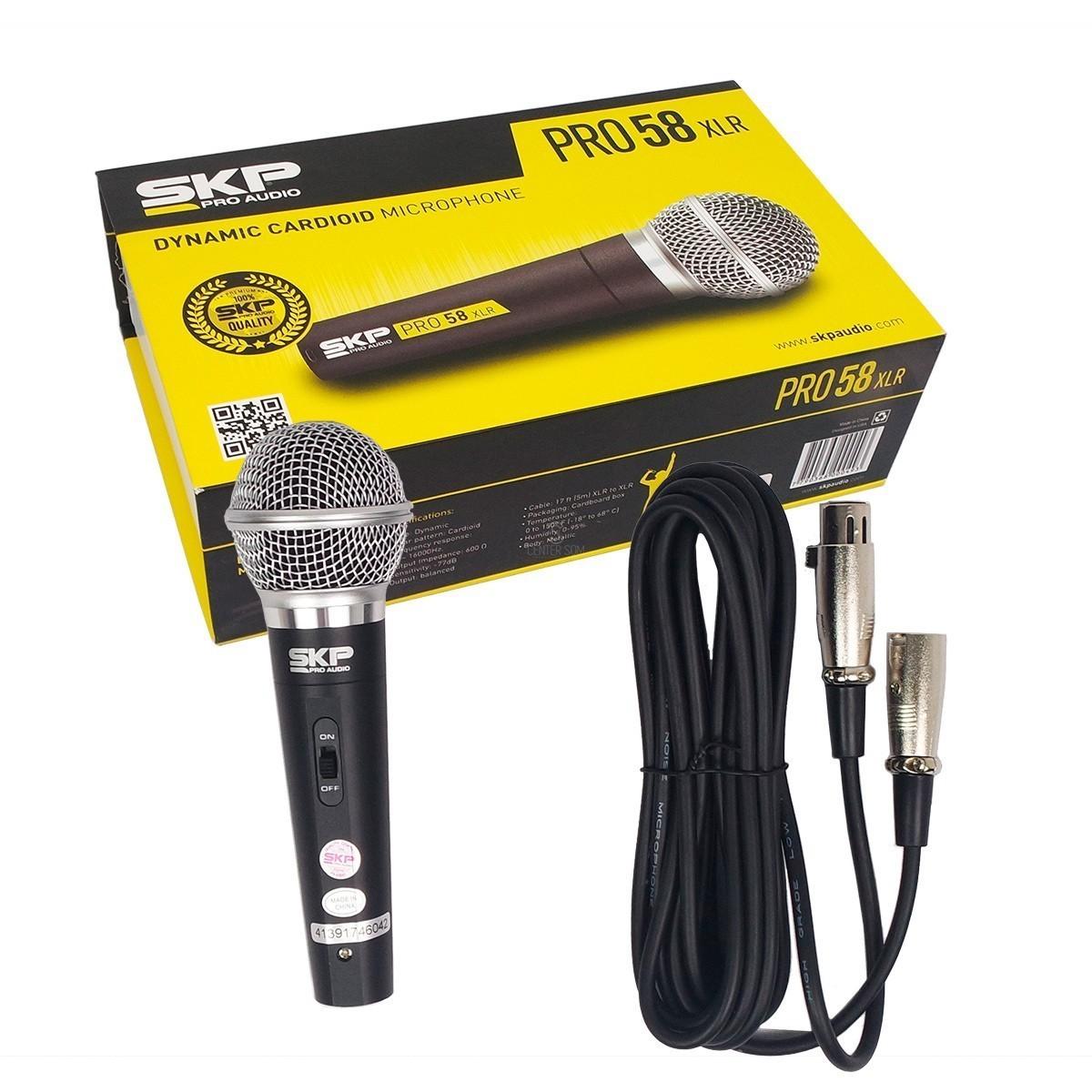 Microfone Pro58xlr SKP Cardióide Dinâmico - Com fio