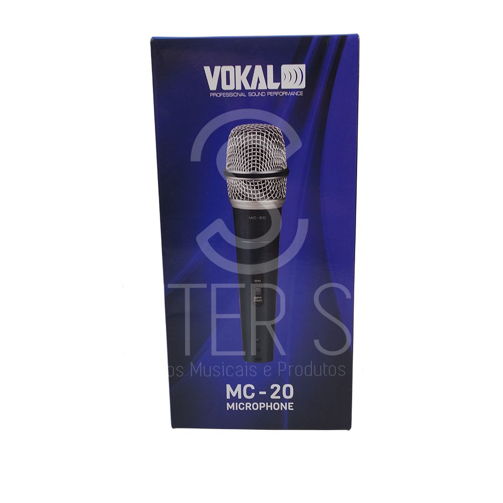 Microfone Profissional Cardióide Dinâmico Com Fio Vokal Mc20 + Acessórios