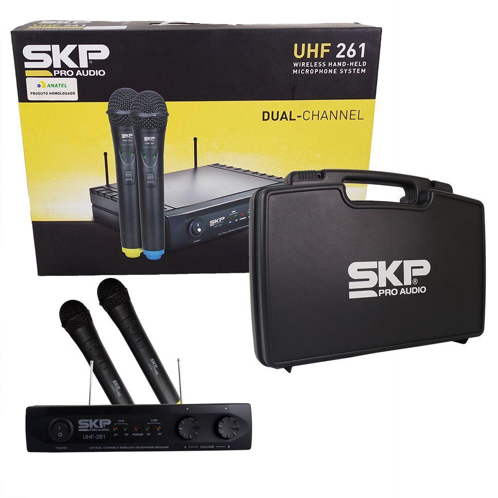 Microfone Sem Fio Duplo De Mão Dinâmico 2 Bastão Skp Uhf 261