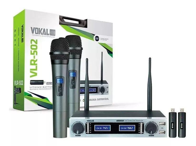 Microfone Sem Fio Duplo Recarregavel Vokal Vlr502
