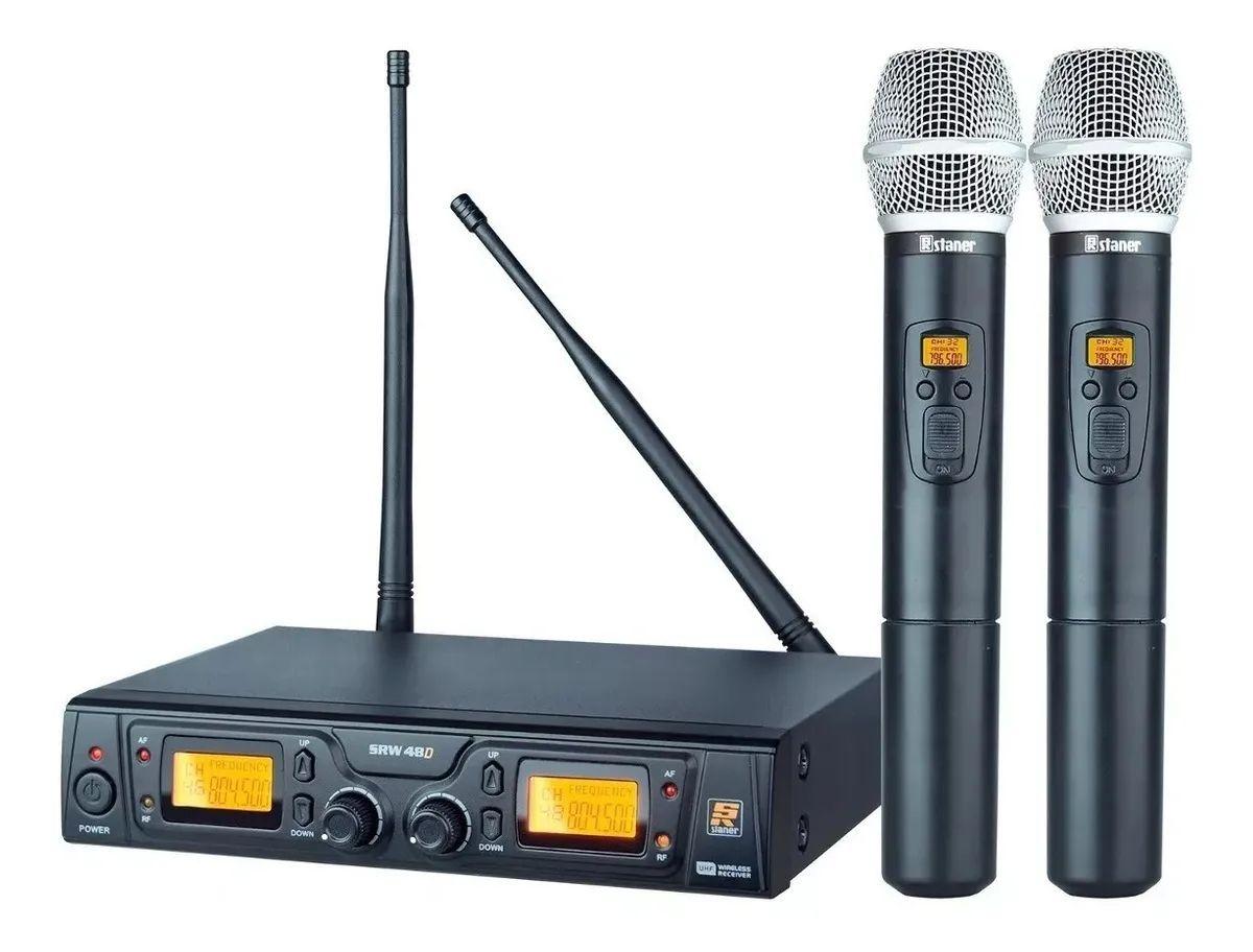 Microfone Sem Fio Duplo Uhf - Staner Srw48d Ht48