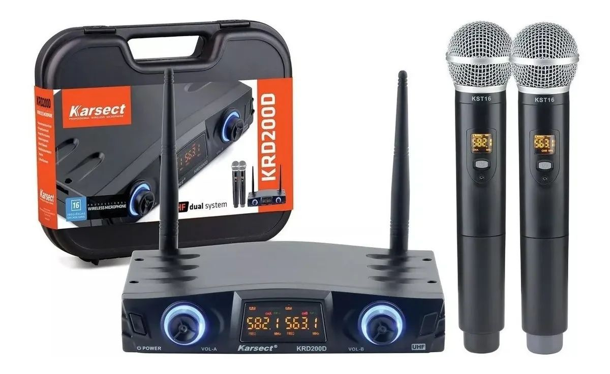 Microfone Sem Fio UHF Duplo Mão -  Karsect Krd200 Dm