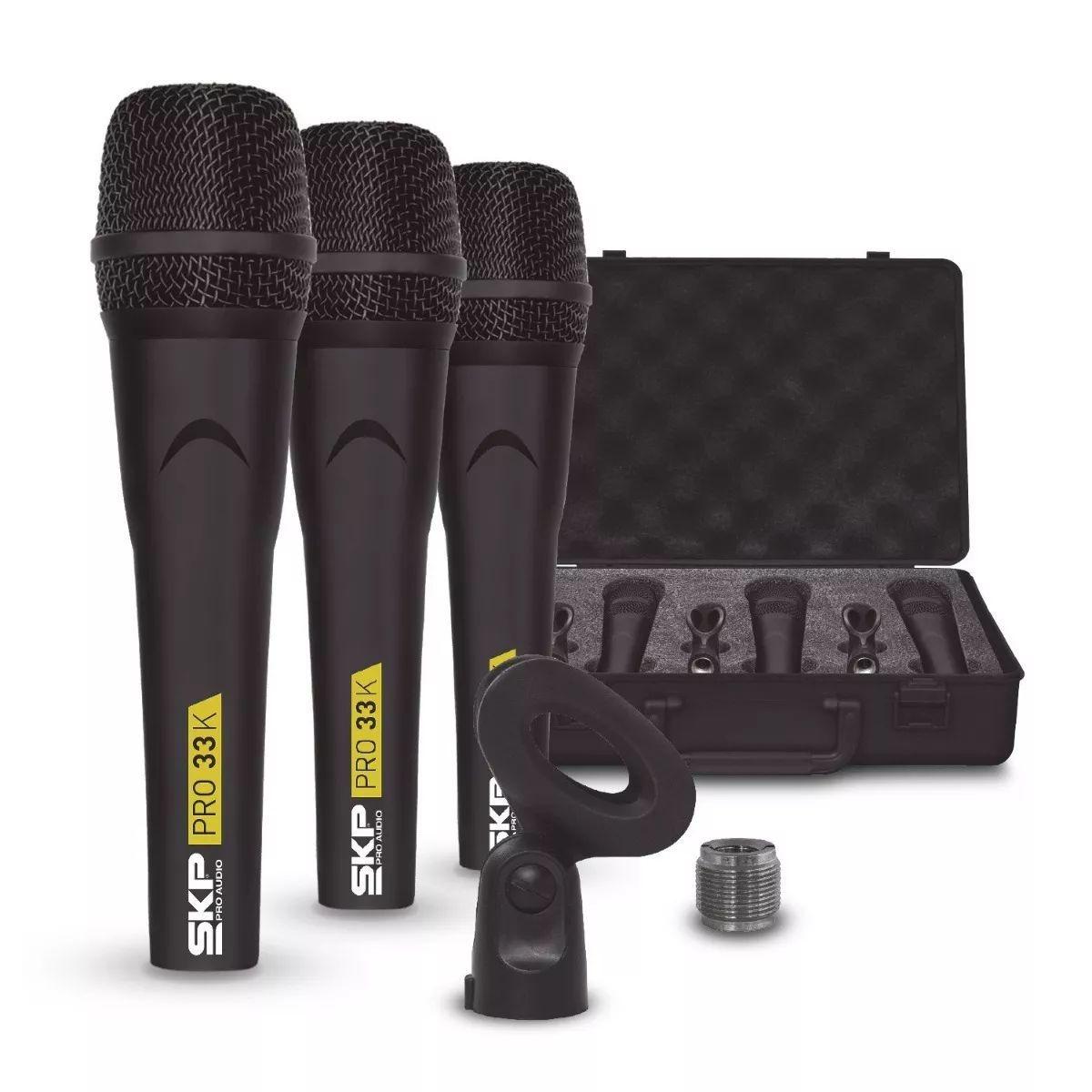 Microfones Kit 3 Profissional Skp Pro 33k Dinâmico C/ Case